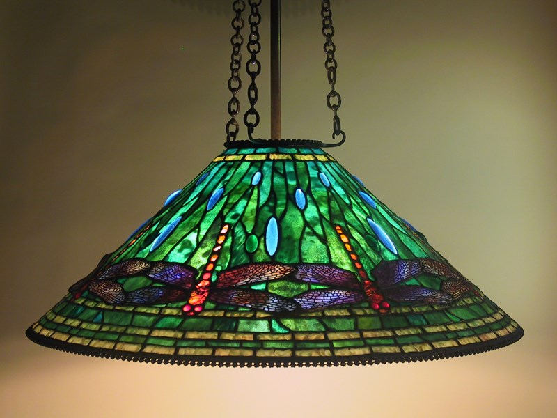 Dragonfly shade, 3-chain fixture.